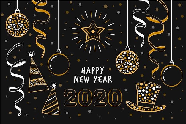 Hand drawn new year 2020 Free Vector