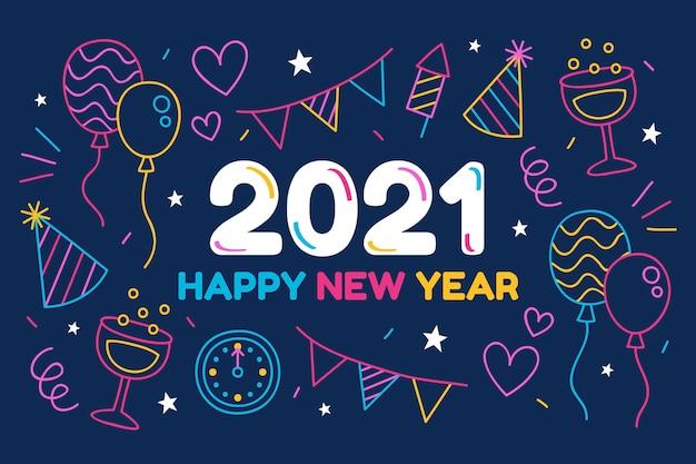 손으로 그린 새해 2021 배경 무료 벡터