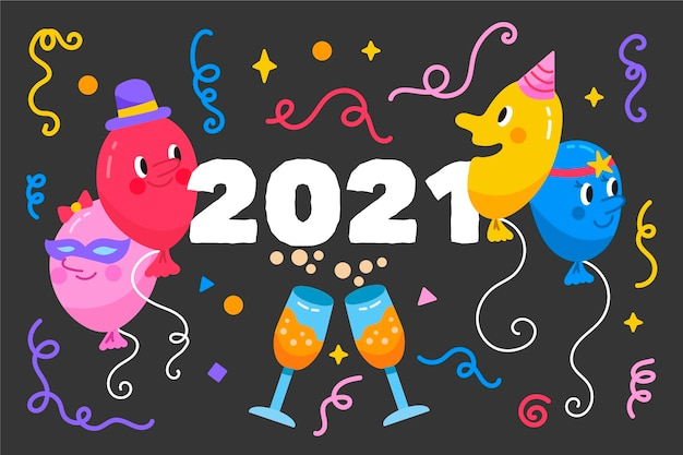 Fondo disegnato a mano del nuovo anno 2021 Vettore gratuito