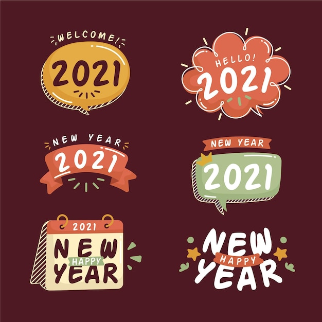 Hand drawn new year 2021 badge collection Free Vector
