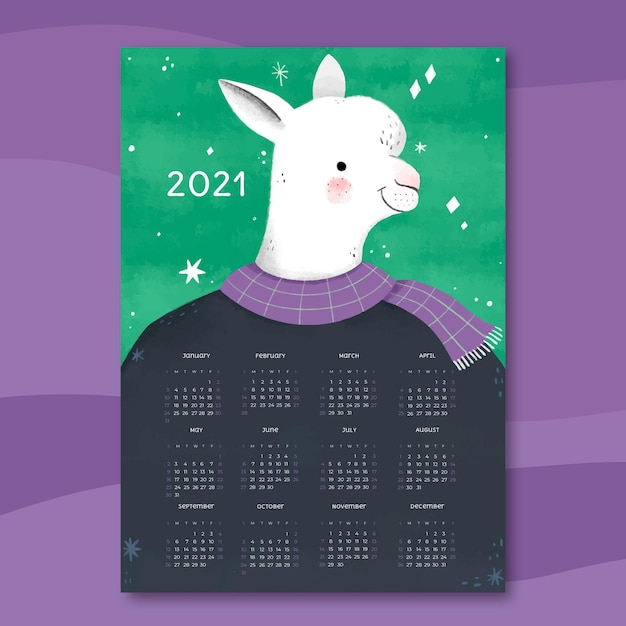 Hand drawn new year 2021 calendar template Premium Vector