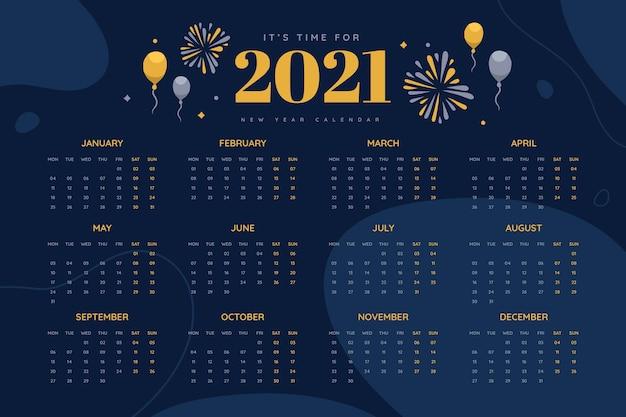 Ручной обращается новогодний календарь на 2021 год с воздушными шарами и фейерверками Premium векторы