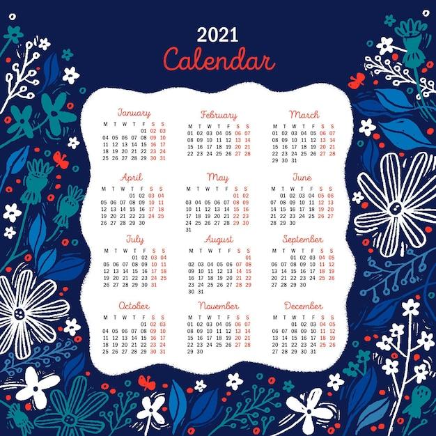 Ручной обращается новый год 2021 календарь с синими цветами Premium векторы