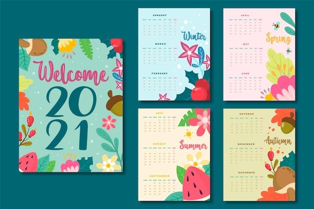 Ручной обращается новый год 2021 календарь Premium векторы