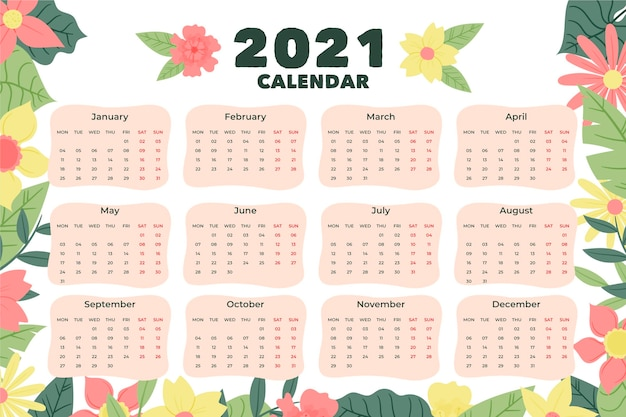 Ручной обращается новый год 2021 календарь Бесплатные векторы