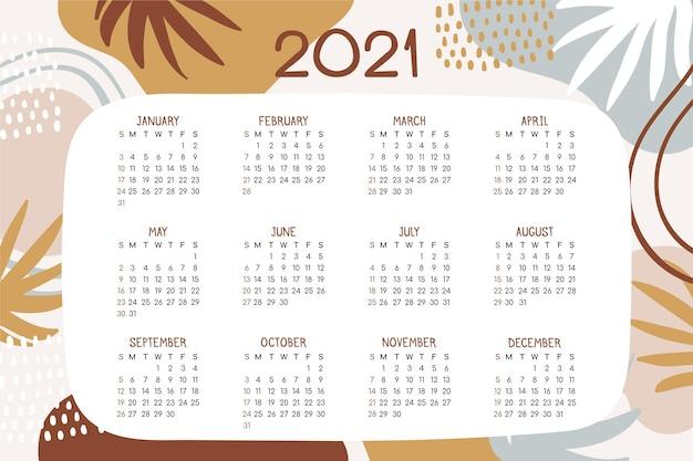 Hand drawn new year 2021 calendar Premium Vector