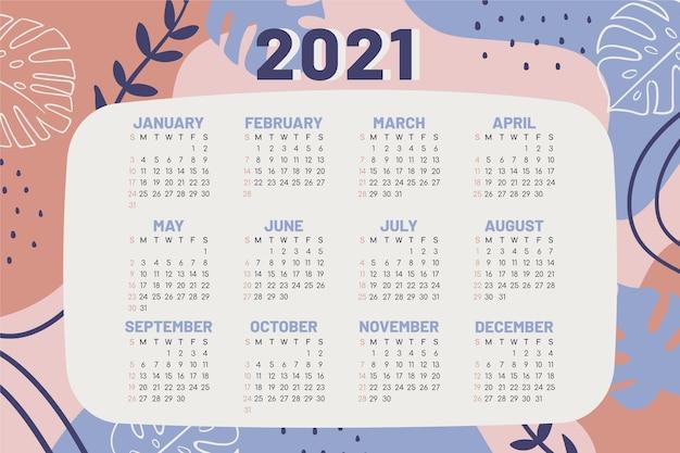 손으로 그린 새해 2021 달력 프리미엄 벡터