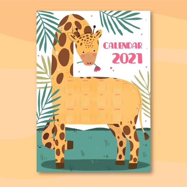 Free Vector   Hand drawn new year 2021 calendar