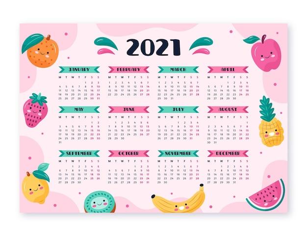 Hand drawn new year 2021 calendar Free Vector