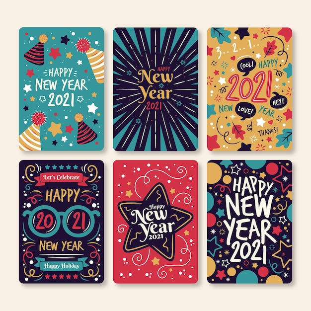 Нарисованные от руки новогодние открытки 2021 года Бесплатные векторы