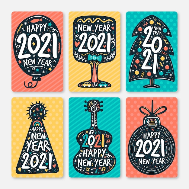 Free Vector Hand Drawn New Year 2021 Cards