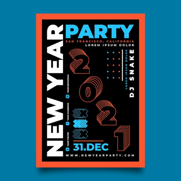 Hand drawn new year 2021 party flyer template Premium Vector