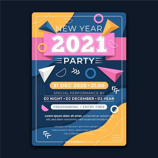 手描きの新年2021年パーティーポスターテンプレート 無料ベクター