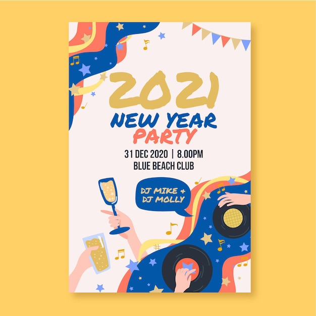 Hand drawn new year 2021 party poster template Free Vector