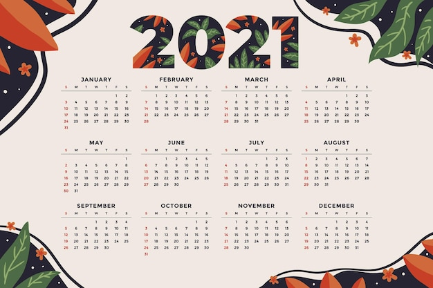 Hand drawn new year calendar Free Vector