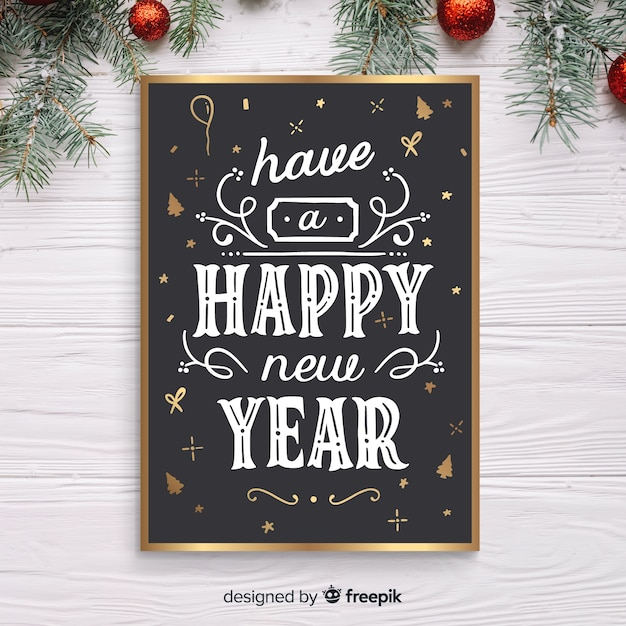 Hand drawn new year flyer Free Vector