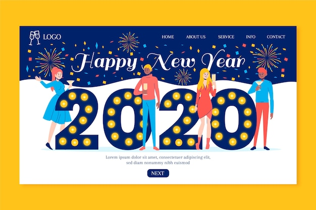 Hand drawn new year landing page template Free Vector