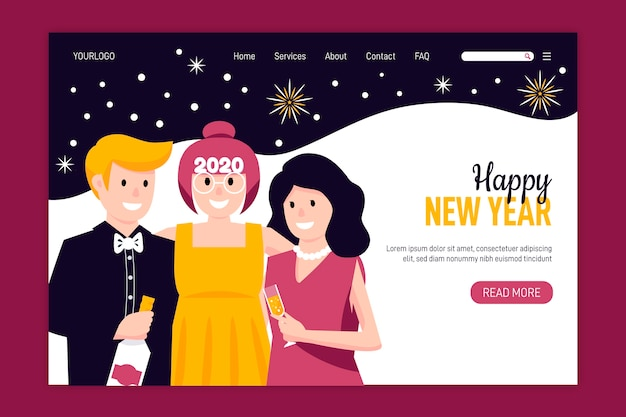 Hand drawn new year landing page Free Vector