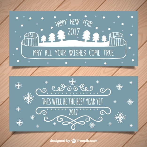 Hand drawn new year party banners Free Vector