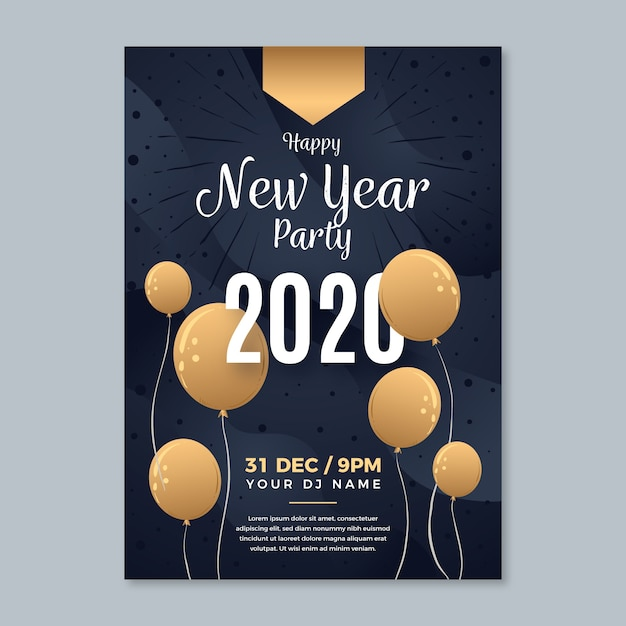 Hand-drawn new year party poster template Free Vector