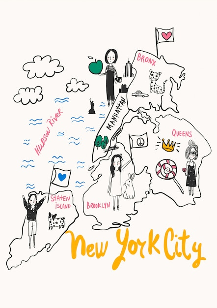 Hand Drawn New York City Map Vector For T Shirt Printing Vector