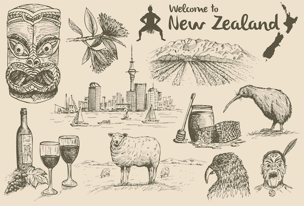 Hand drawn new zealand icons Premium Vector