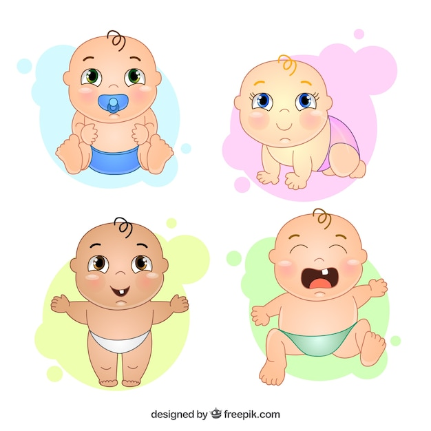 Hand drawn nice baby with different gestures Free Vector