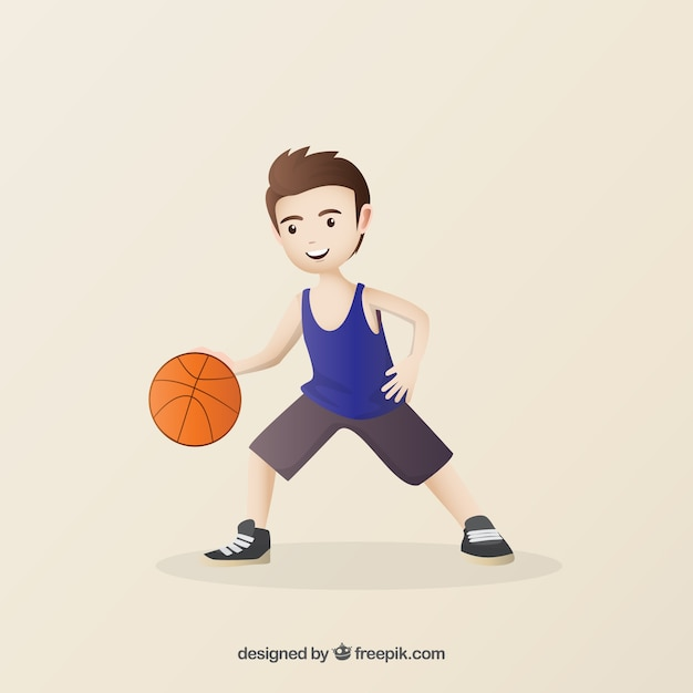 Hand drawn nice basketball player Vector | Free Download