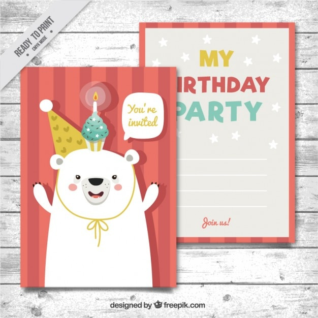 Hand drawn nice bear birthday card