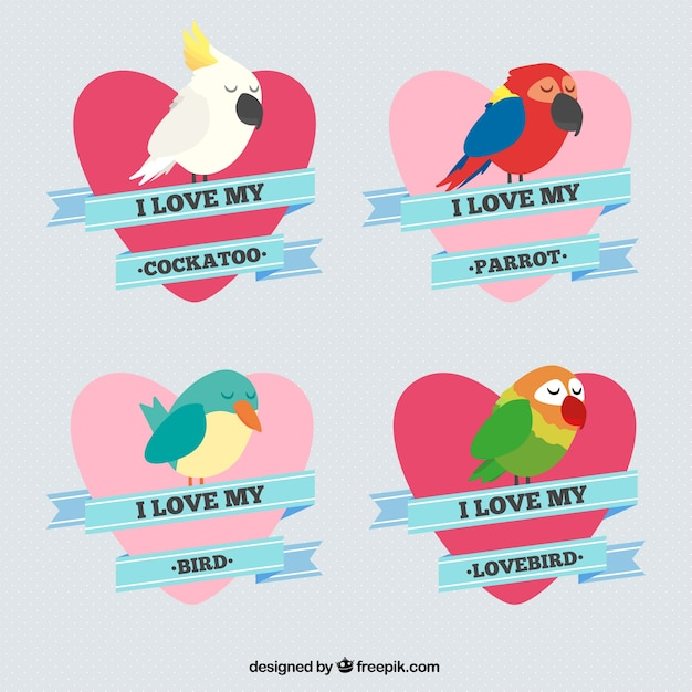 Hand drawn nice birds with hearts