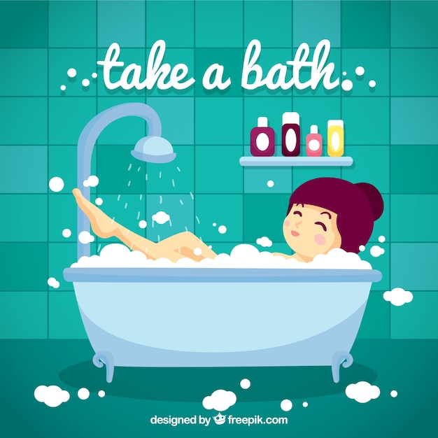 Hand Drawn Nice Girl Taking A Bath Vector
