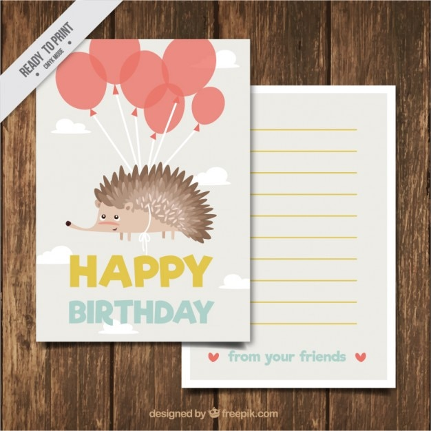 Hand Drawn Nice Hedgehog Birthday Card With Balloons Stock Images
