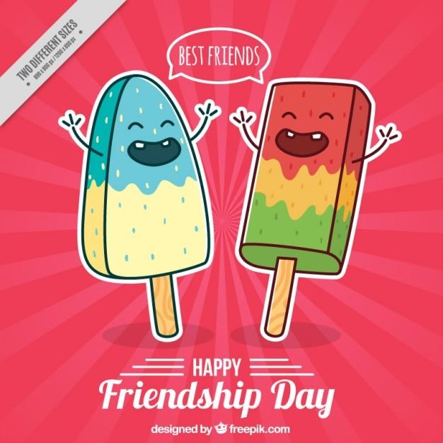 دست کشیده خوب شخصیت بستنی پس زمینه روز دوستی