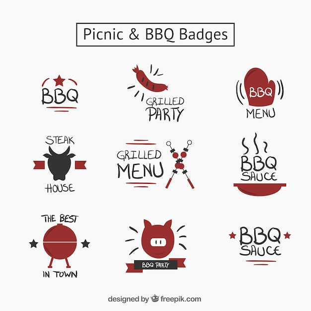 Hand drawn nice picnic and bbq badges