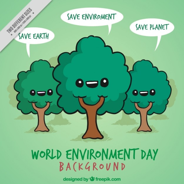 hand drawn nice trees with save planet messages background vector