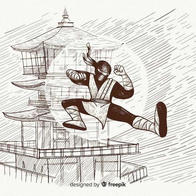 Sfondo ninja disegnati a mano Vettore gratuito