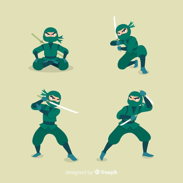 Hand drawn ninja character in different poses Free Vector
