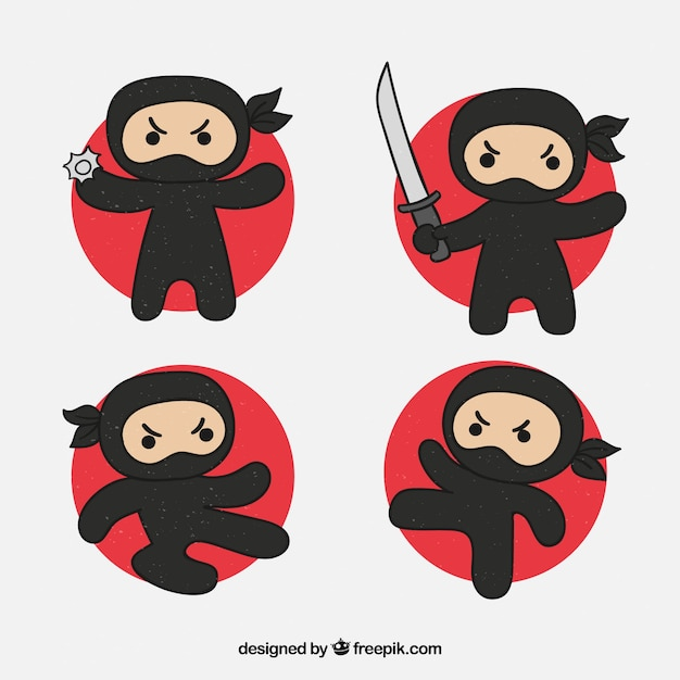 Hand drawn ninja character in different\ poses
