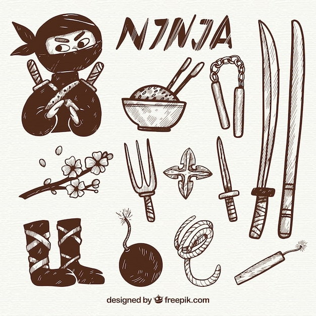 Коллекция элементов ниндзя ручной работы Бесплатные векторы