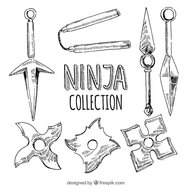 Hand drawn ninja element collection Free Vector