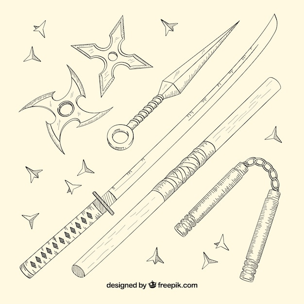 Hand drawn ninja element collection Free Vector
