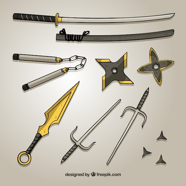 Hand drawn ninja element collection Premium Vector