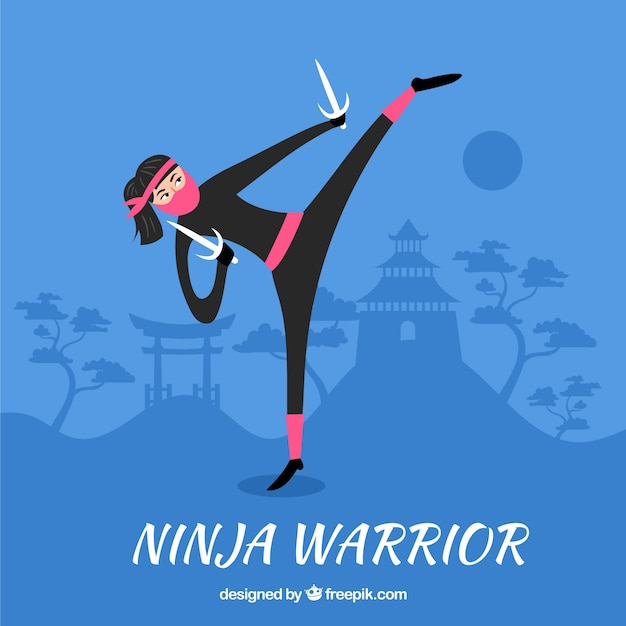 Hand drawn ninja warrior background