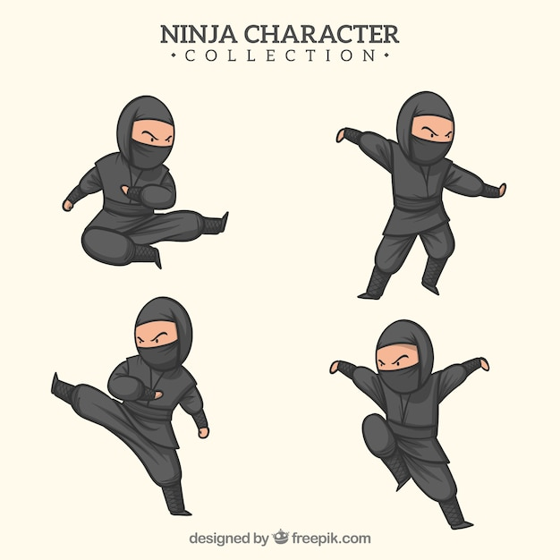 Hand drawn ninja warrior in different poses Free Vector
