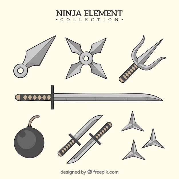 Hand drawn ninja warrior element collection Free Vector