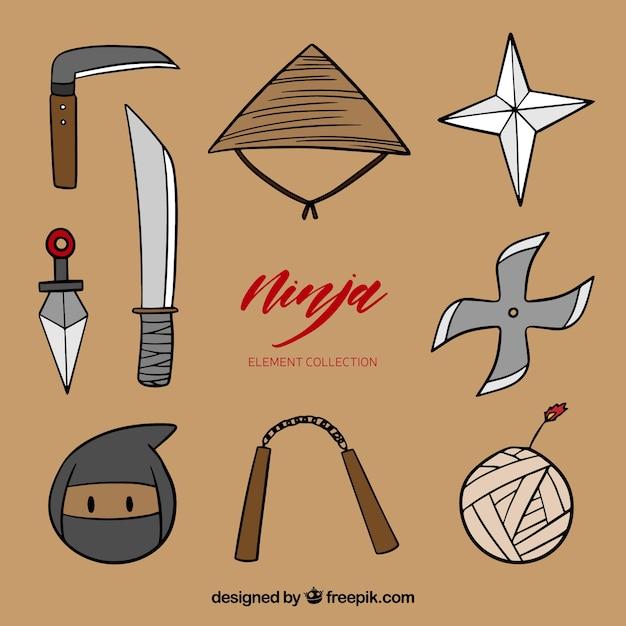 Hand drawn ninja warrior element collection Free Vector