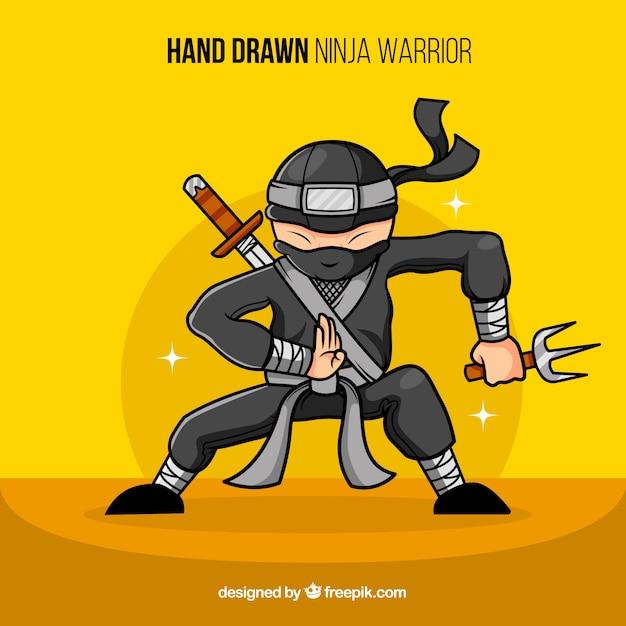 Ручной ниндзя-воин Бесплатные векторы