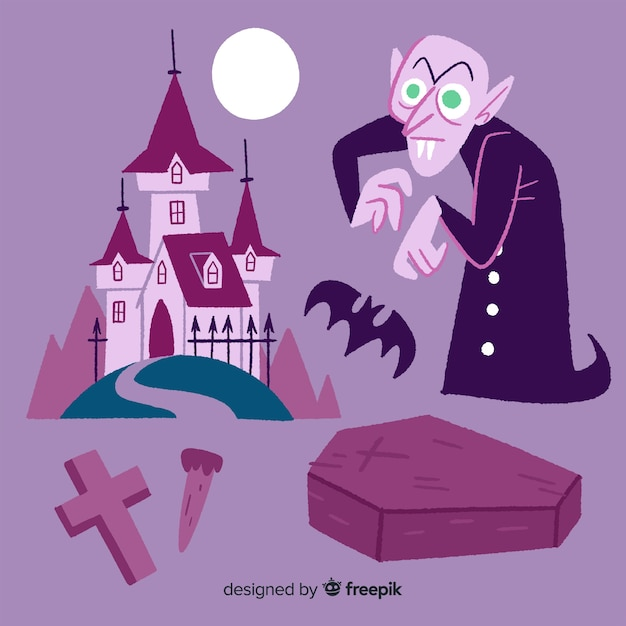 Hand drawn nosferatu character collection Free Vector