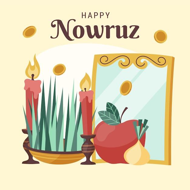 Hand drawn nowruz elements Free Vector