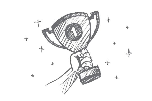 손으로 그린 된 넘버 원 컨셉 스케치 프리미엄 벡터
